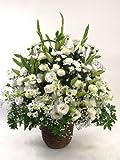 そのまますぐに飾れます「白基調ご供花アレンジ」ご霊前・ご仏前・急なご訃報に白い供花を【最短翌日 】
