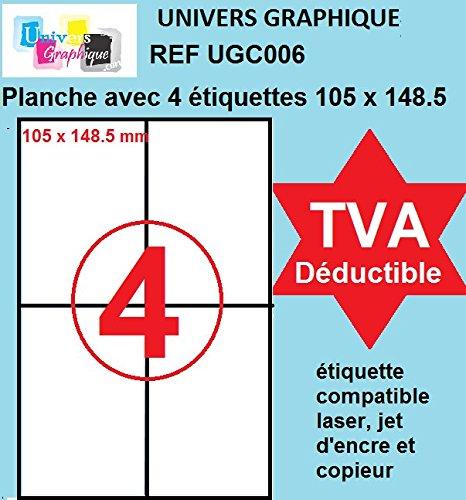 800 étiquettes 105 x 148.5 mm - 200 feuilles A4- BOITE EN CARTON RIGIDE - facture avec TVA DÉDUCTIBLE contrairement à certains vendeurs (auto entrepreneurs) Réf UNIVERS GRAPHIQUE UGC006