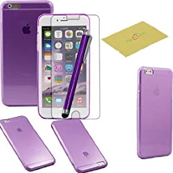 iPhone 6 Plus Case, Fulland Premium Slim Fit Clear Flexible TPU Gel Soft Skin Case Cover For Apple Iphone 6 plus 5.5 inch Plus Stylus Pen & Screen Protector-Magenta