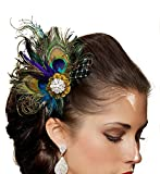 Jelinda(JP)結婚式 孔雀の羽 花嫁飾り ヘア ピン ヘアクリップ ヘアアクセサリー バレッタ
