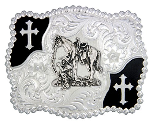 Montana Silversmiths Christian Flourish Scallop Shape Belt Buckle w/ Cowboy and Horse