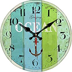 Grazing 12 Vintage Roman Numeral Design Rustic Country Tuscan Style Wooden Decorative Round Wall Clock (Ocean2)