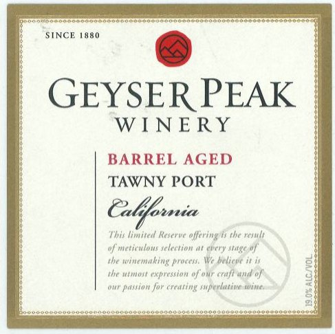 Nv Geyser Peak Barrel Aged Tawny Port 375 Ml