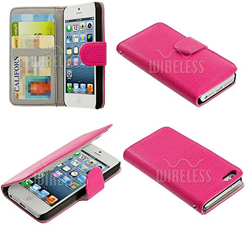 Mylife Persian Rose Pink - Classic Design - Textured Koskin Faux Leather (Card And Id Holder + Magnetic Detachable Closing) Slim Wallet For Iphone 5/5S (5G) 5Th Generation Smartphone By Apple (External Rugged Synthetic Leather With Magnetic Clip + Interna