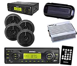 New Boat Yacht Radio USB AUX Input 4 Round Black Speakers w/Amp Cover Remote Kit