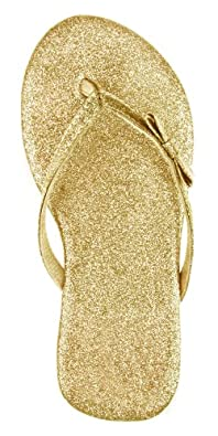 Capelli New York Glitter Patent Thong With Bow Girls Fashion Flip Flop Gold 3/4