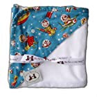 The Pat a Cake Baby Retro Rockets Hooded Towel