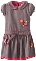 Hartstrings Girls 2-6X Toddler Girl Dress with Floral Appliques, Herringbone, 3T