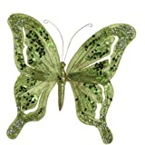 RAZ Imports - Jeweled Green Clip-On Butterfly 6.5