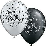 """5 Qualatex Luftballons """"Happy Birthday"""", Elegant Sparkles & Swirls Party Pack, silber und schwarz, etwa 28 cm, rund"""