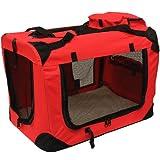 Mool Lightweight Fabric Pet Carrier Crate with Fleece Mat and Food Bag, Medium, 60 x 42 x 42 cm, Red