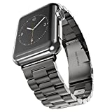 Amanstino Apple Watch Band Stainless Steel Metal Replacement Smart Watch Band Bracelet with Double Button Folding Clasp for 38mm Apple Watch All Models-Black(Not Fit iWatch 42mm Version 2015)