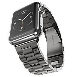 Apple Watch Band,42mm Apple Watch Band Stainless Steel Metal Replacement Strap Wrist Band with Double Button Folding Clasp and Buckle Adapter for Apple iWatch (42mm black)