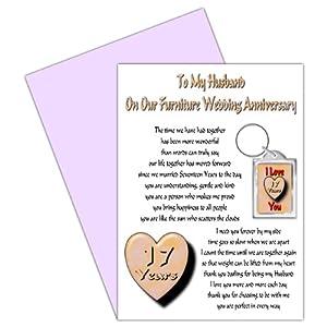 17th Wedding Anniversary Gift For Husband : Husband 17th Wedding Anniversary Card With Removable Keyring Gift17 ...