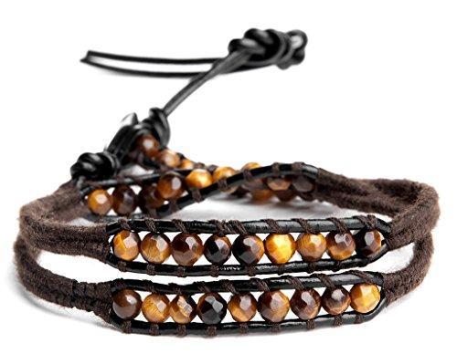 Koala Club Men's Leather Bracelet with Beads Multi Cut Tiger Eye 4mm 2 Wrap