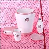 Pink Hearts and Diamonds 5 Piece Bath Accessory Set