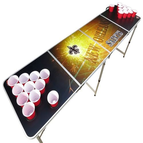 New Orleans Beer Pong Table with Holes, 2x8, 8ft Tailgate Table with Recessed Cup Holes, Aluminum, Portable