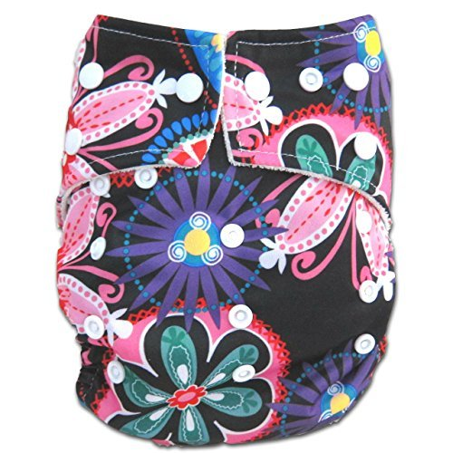 "Kawaii Baby One Size Organic Bamboo Terry Cloth Diaper with 2 Bamboo Inserts ""Passion Flower"" - 1"