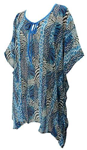 La Leela Animal skin Printed Patch Worked Beach Swim Cover up Blue