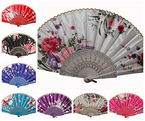 PALLION® Premium Flower Print Multu-Pattern Decoration Fabric Folding Lace Silk Trim Hand Fan US Seller (12 Pcs, Colorful Silk)