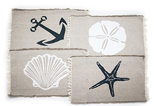Set of 4 Beach-Themed Nautical Table Placemats (13″x19″) – Seashell, Sand dollar, Starfish, Anchor