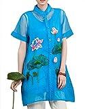 100% Fait Main Tunique Ethnique Blouse Chemisier Femme Chinoise organza Brode #114