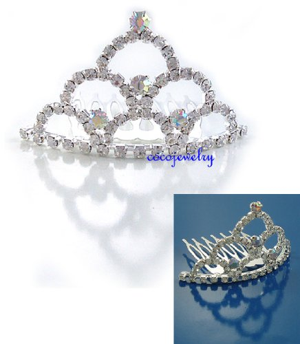 Bridal Flower Girl Prom Party Crystal Tiara Comb T3 New