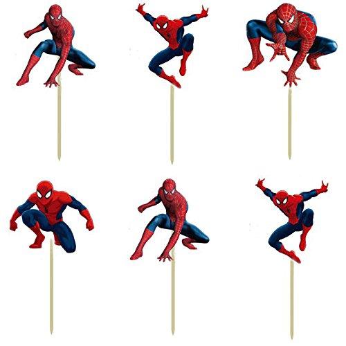 72pcs Super hero Spiderman Cartoon Cupcake Toppers Picks boy Kids children birthday party evnent decorations Foods friuts picks