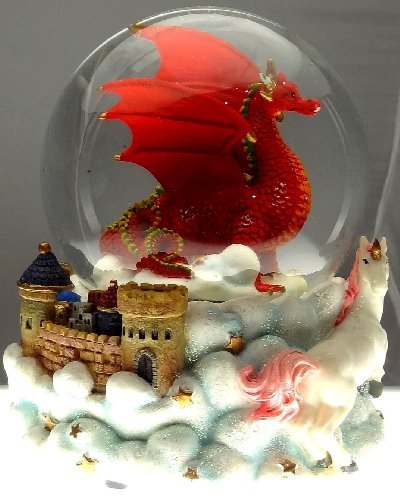 Ruby Red Dragon with Mystic White Unicorn and Castle in the Clouds Snow Globe - Sculptured Resin Water Ball Music Box 5 3/4