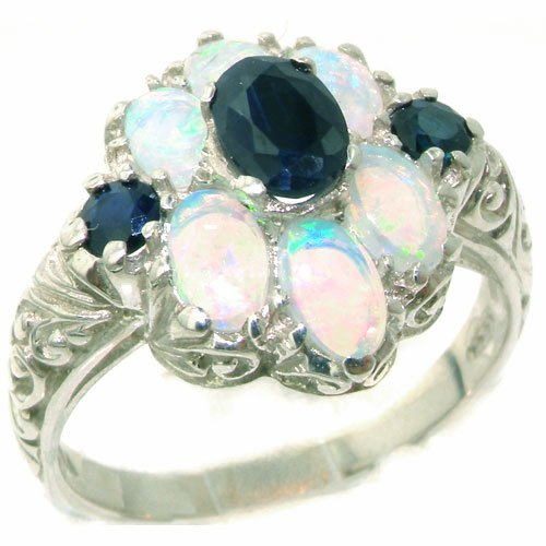 Spectacular Solid Sterling Silver Natural Sapphire and Very Fiery Opal Art Nouveau Style Ring - Size 11.75 - Finger Sizes 4 to 12 Available - Suitable as an Anniversary ring, Engagement ring, Eternity Ring, or Promise ring