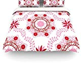 "Kess InHouse Anneline Sophia ""Let's Dance Red"" Pink Floral Queen Cotton Duvet Cover, 88 by 88-Inch"