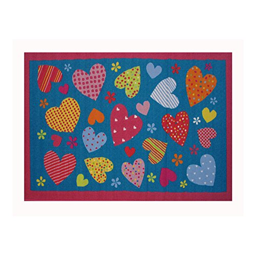 Fun Rugs FT-128 3958 Hearts Turquoise Childrens Rug, 39-Inch by 58-Inch