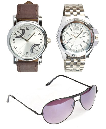 Gesture 2 Watches + 1 Aviator combo for Men (multicolor)