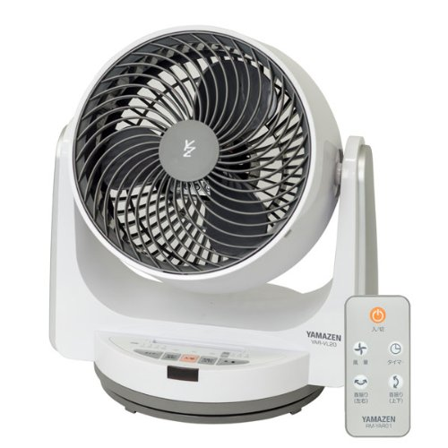 山善(YAMAZEN) 20cm首振りサーキュレーター(静音モード搭載)(リモコン)(風量4段階) タイマー付 ホワイトグレー YAR-VL20(WH)