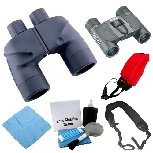Bushnell 137501 Marine Waterproof 7X50Mm Binoculars + Bushnell Powerview 8X21Mm Folding Roof Prism Binoculars + Accessory Kit