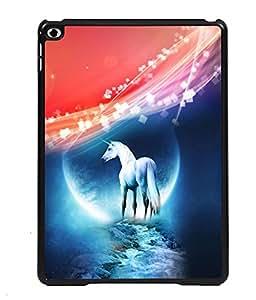 PRINTVISA White Horse Premium Metallic Insert Back Case Cover for Apple IPad Air - D5675