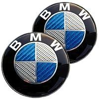 2 X 82mm Real Carbon Fiber Bmw Bluesilver Hoodtrunk Emblems Badges