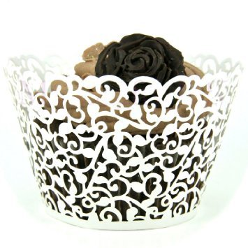 Cupcake Wrappers 100 Filigree Artistic Bake Cake Paper Cups Little Vine Lace Laser Cut Cupcake Wrapper Liner Baking Cup Muffin Case Trays for Wedding Party Birthday Decoration (White)
