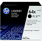 HP 64X (CC364XD) Black High Yield Original LaserJet Toner Cartridges, 2 pack