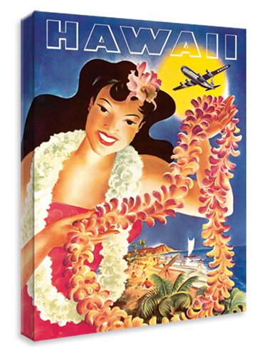 United Airlines Hawaii Travel Poster - Hawaiian Art Canvas Print Gallery Wrapped, 9