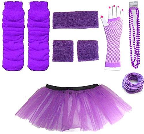 Adult Complete Set - Tutu,Gloves,Legwarmers,Necklace,Bangles,Headband & Wristbands (Purple)