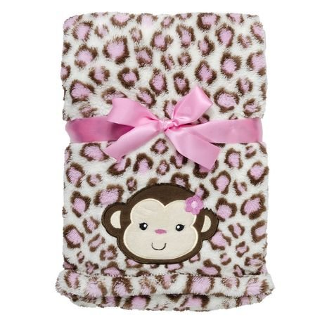 Babygear BB1002928 Monkey Printed Long Hair Velboa Blanket With Applique