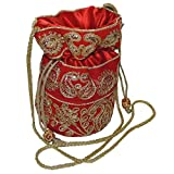 Bagathon India Elegant Jari Work Women Potli [Red] TFB01