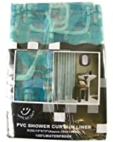 Trendy pattern bathroom accessories- all shades of blue squares shower curtain liner