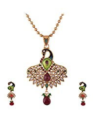Ganapathy Gems 1 Gram Gold Plated Peacock Design Pandent Set With White CZ Stones And Golden Beads Chain