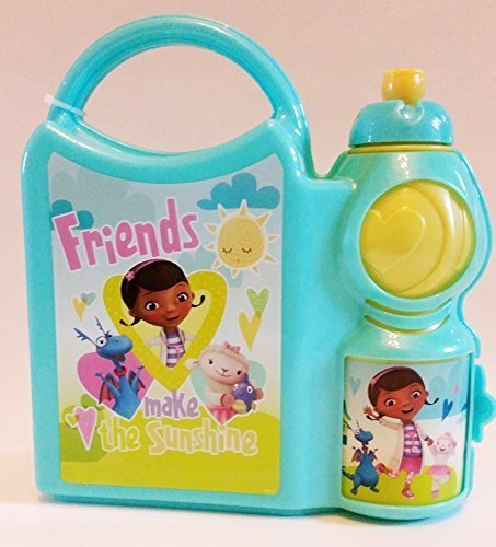 "Disney Doc Mcstuffins ""Friends Make The Sunshine"" Combo Lunch Box with Water Bottle (Turquoise Color) - 1"