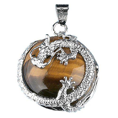 Jovivi Beautiful Dragon Wrap Pendant Bead Genuine Leather Necklace Christams Gifts (Tiger Eye)