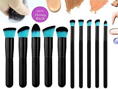Qivange Makeup Brushes, Premium Synthetic Foundation Powder Eyeshadow Blush Concealer Kabuki Brush Set ( 10pcs, Black with Blue)