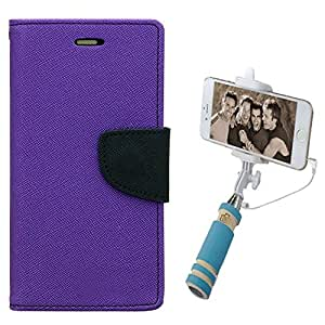 Aart Fancy Diary Card Wallet Flip Case Back Cover For Nokia 640 - (Purple) + Mini Aux Wired Fashionable Selfie Stick Compatible for all Mobiles Phones By Aart Store