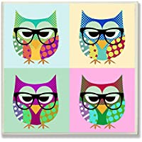 The Kids Room By Stupell Owls Wearing Eyeglasses Square Wall Plaque